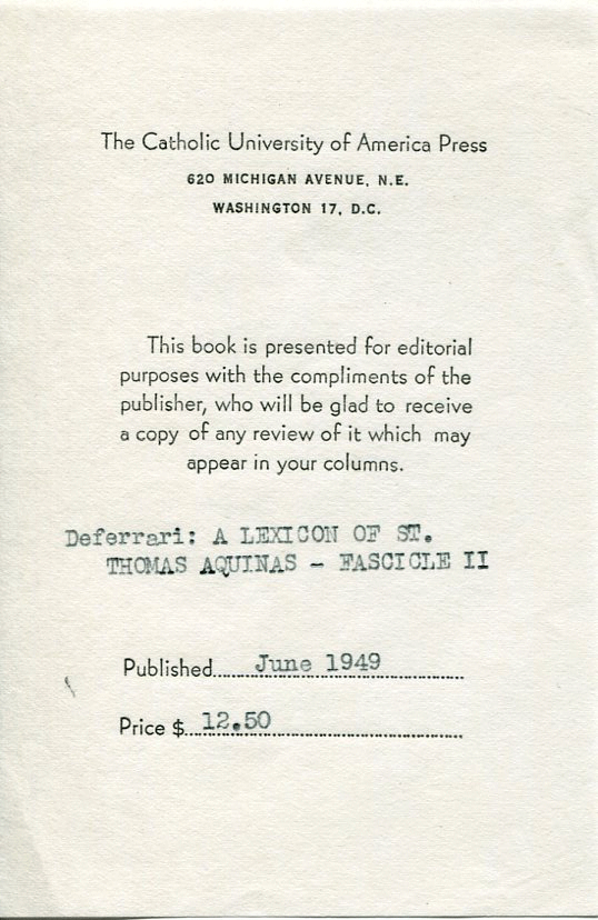 The Catholic University of America Press 1949